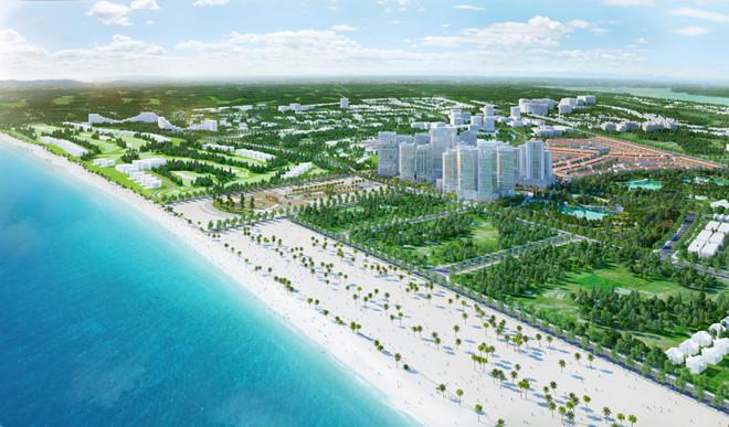 Phối cảnh dự án Nhơn Hội New City - giao đất nền cho khách