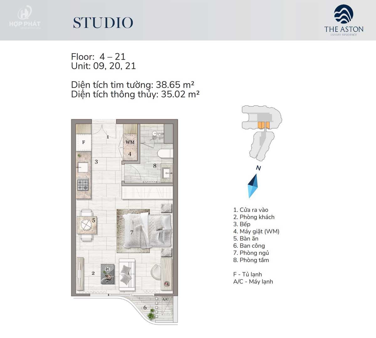 căn hộ studio của dự án The Aston Nha Trang