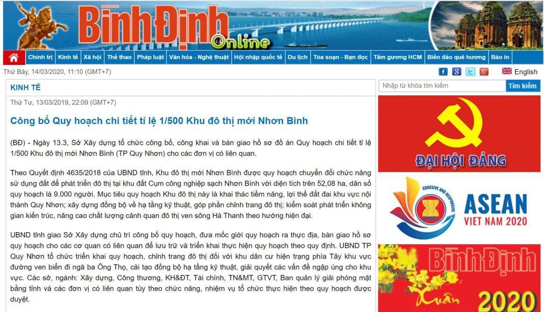 Quyet Dinh 1.500 Khu Cong Nghiep Sach Nhon Binh